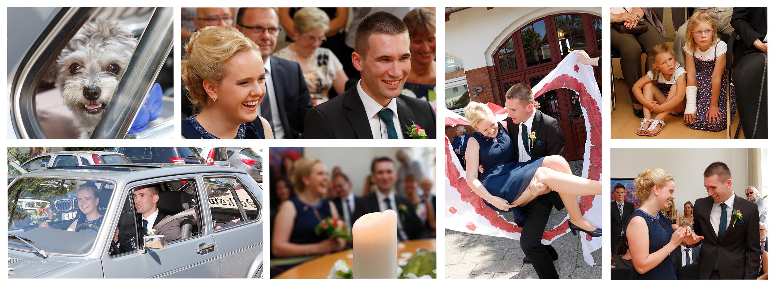 Auf diesen Bild sehen sie den Hochzeitsfotografen Hannover bei der Arbeit auf dem Standesamt. Eine Collage von Standesamtlichen Bildern. Fotografiert vom Hochzeitsfotograf Hannover.